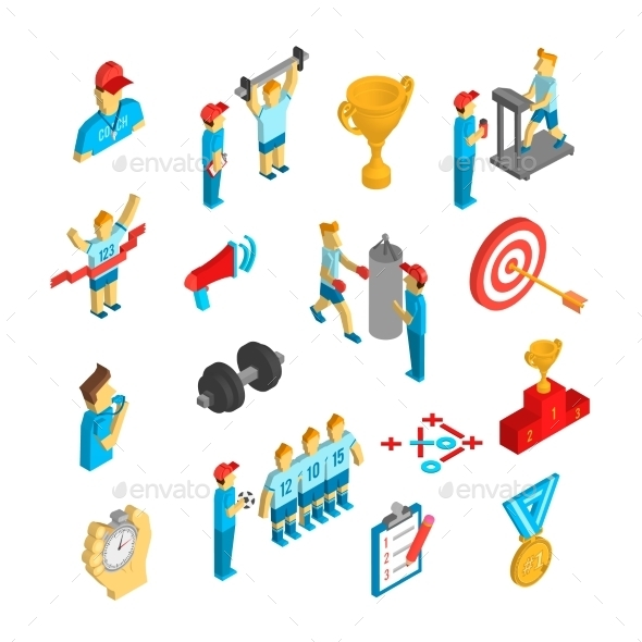 GraphicRiver Coaching Sport Icon Isometric 10451415