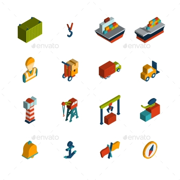 GraphicRiver Seaport Icon Isometric 10451416