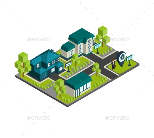 GraphicRiver Isometric Town Concept 10451429