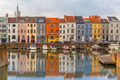 River Leie, colored houses and Belfry tower in Ghent, Belgium - PhotoDune Item for Sale