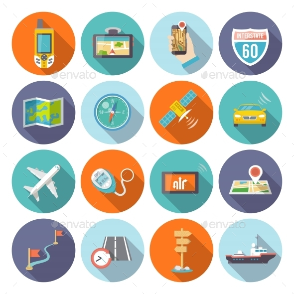 GraphicRiver Navigation Icons Flat Composition 10451445