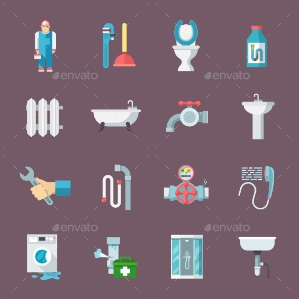 GraphicRiver Plumbing Icons Set 10451449