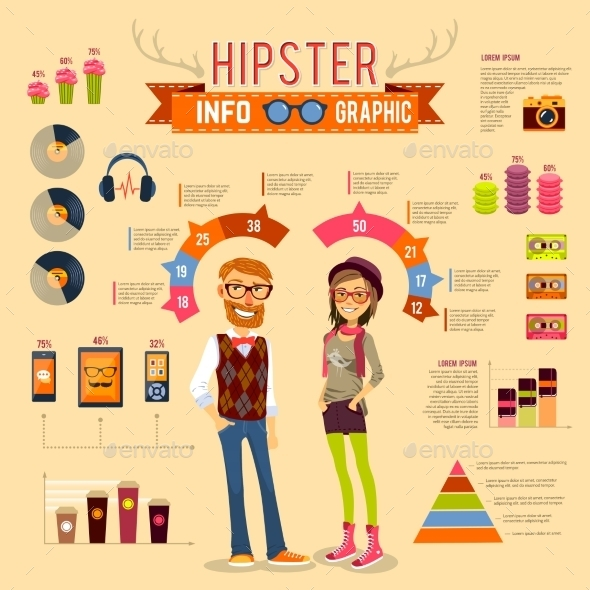 GraphicRiver Hipster Infographic Set 10451487