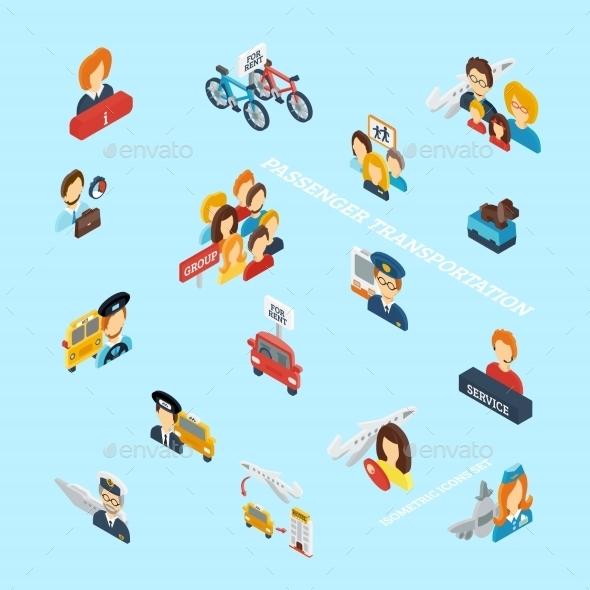 GraphicRiver Passenger Transportation Isometric 10451528