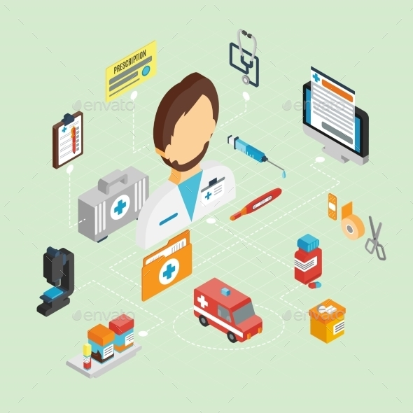 GraphicRiver Doctor Isometric Set 10451529