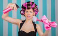 retro woman in rollers multitasking - PhotoDune Item for Sale