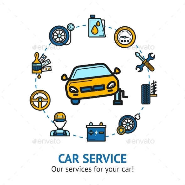 GraphicRiver Car Service Illustration 10451614