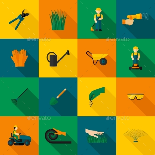 GraphicRiver Lawn Man Icon Flat 10451675