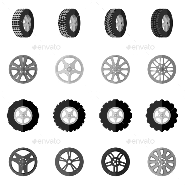 GraphicRiver Tire Icon Black 10451676