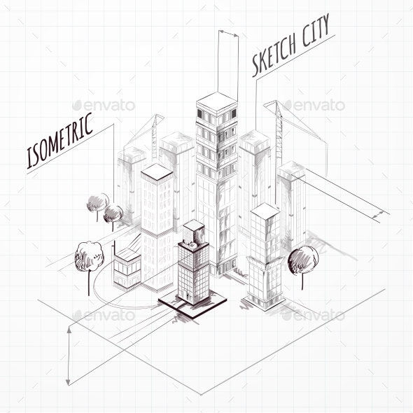 City Construction Sketch Isometric