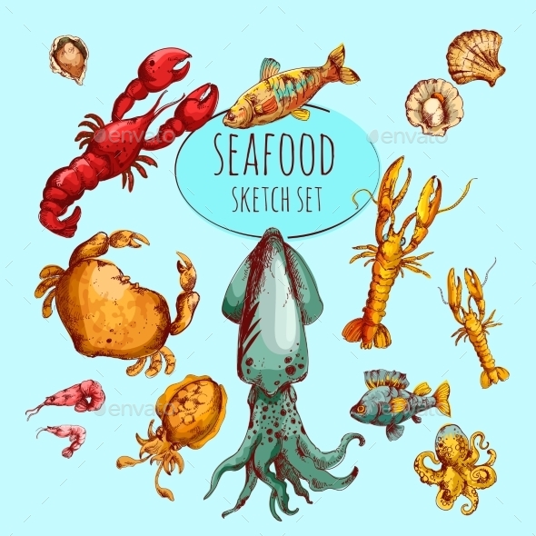 GraphicRiver Seafood Sketch Colored 10451712