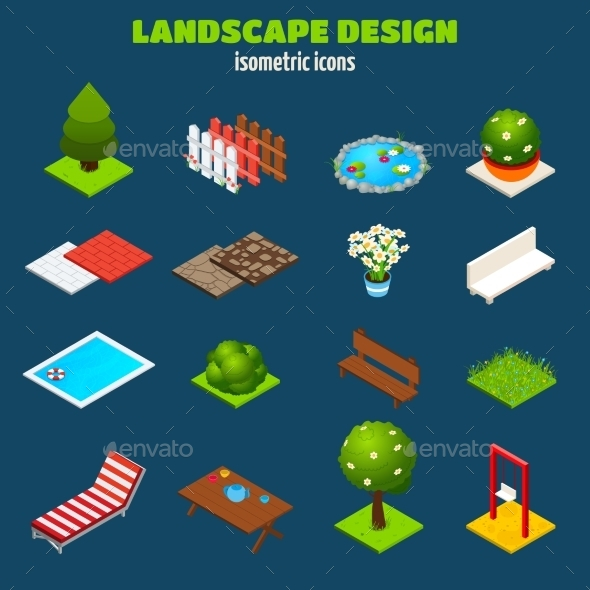 GraphicRiver Landscape Design Isometric Icons 10451745