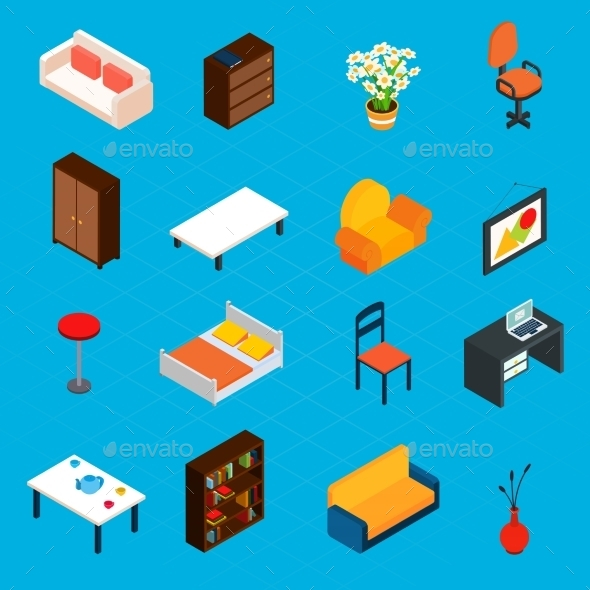 GraphicRiver Isometric Interior Icons 10451748