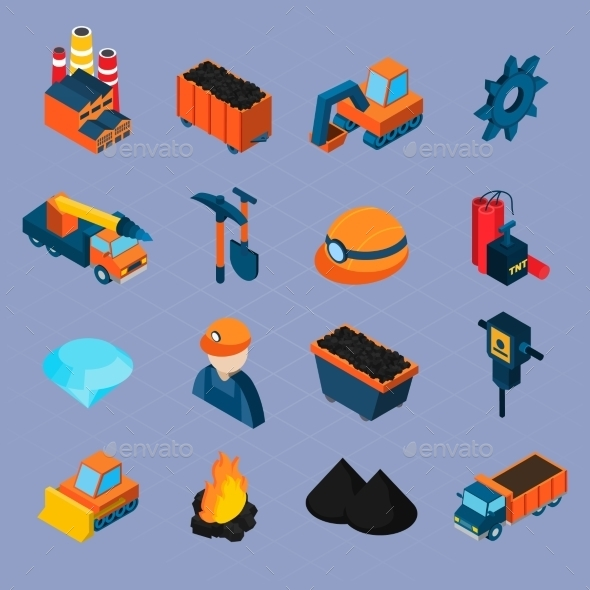 GraphicRiver Coal Industry Isometric Set 10451759