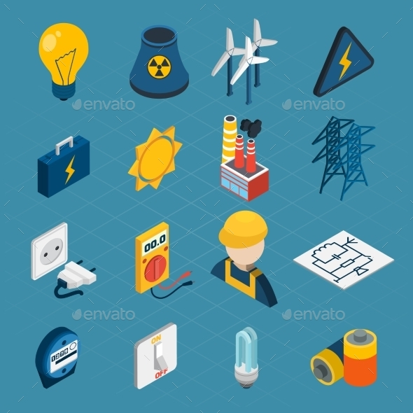 GraphicRiver Electricity Isometric Icons 10451761