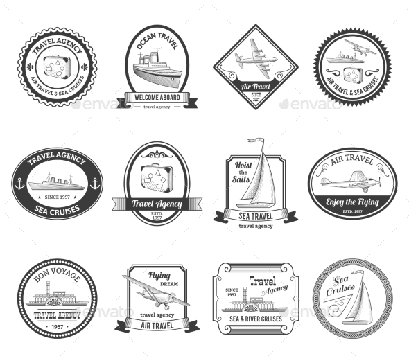 GraphicRiver Cruise Travel Agency Tours Labels Colored 10451781