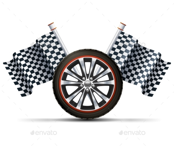 GraphicRiver Racing Wheel With Flags 10451834