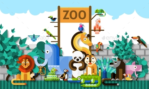 GraphicRiver Zoo Background Illustration 10451910