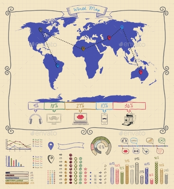 GraphicRiver Pen Drawing Warld Map Infographics 10453336