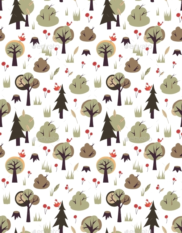 GraphicRiver Birds and Trees Pattern 10453535