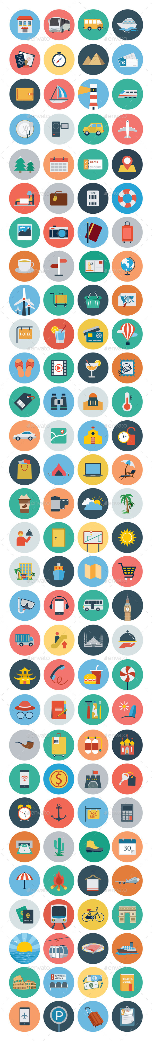 GraphicRiver 120 Travel Flat Icons 10453857