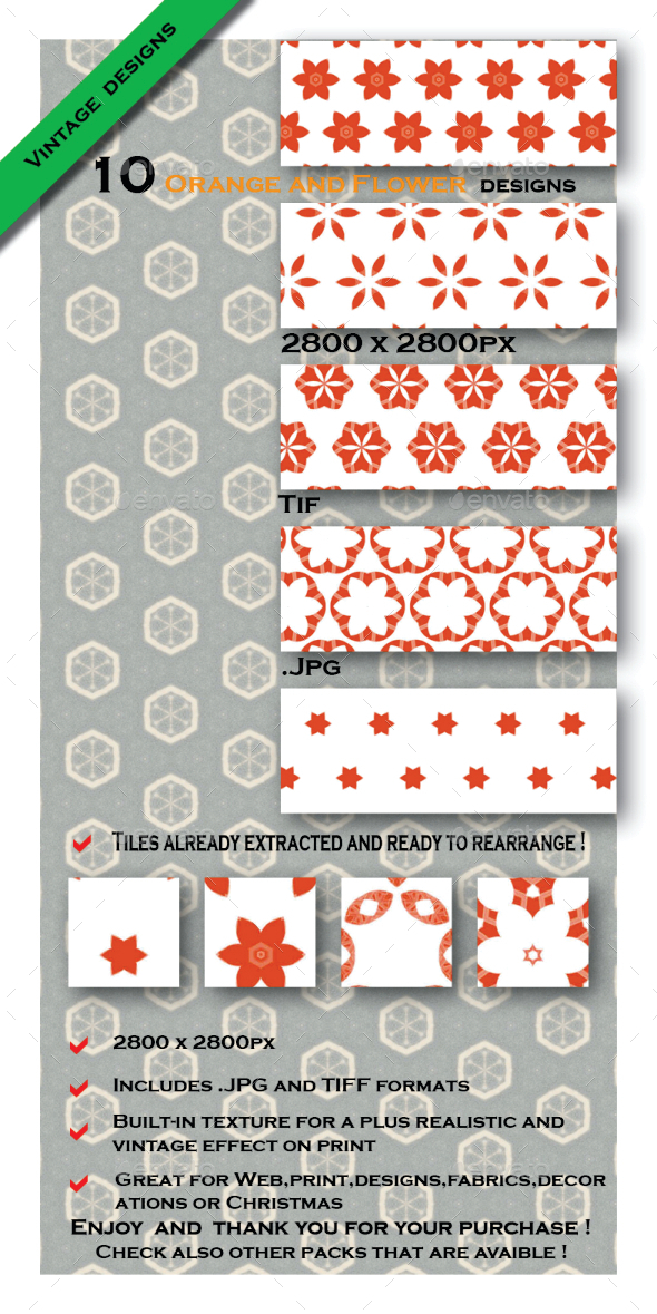 GraphicRiver Orange and Flowers Textures Pack 10454609