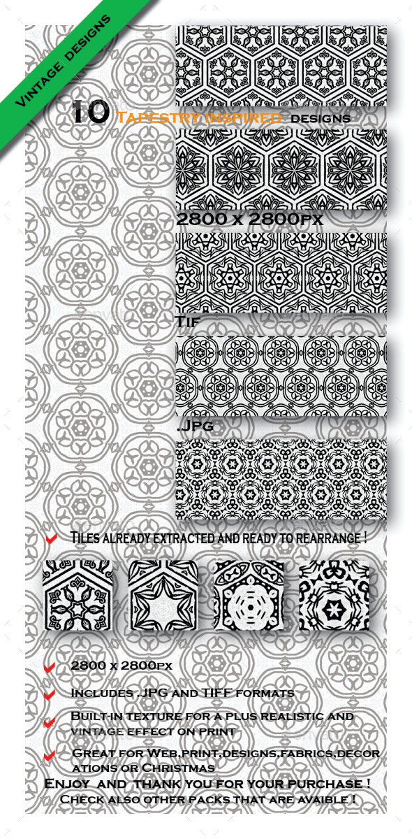 GraphicRiver 10 Patterns Old Tapestry 10454720