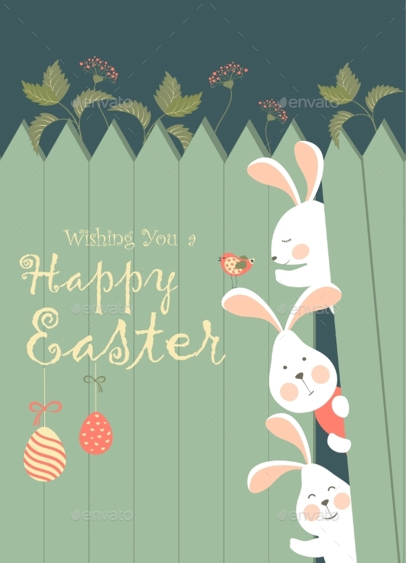 GraphicRiver Easter Bunnies and Easter Eggs 10454884