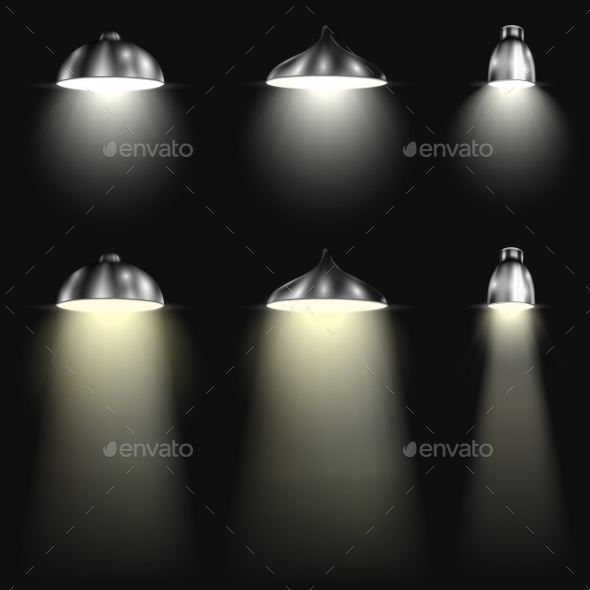 GraphicRiver Three Types of Spotlights With Beams 10455941