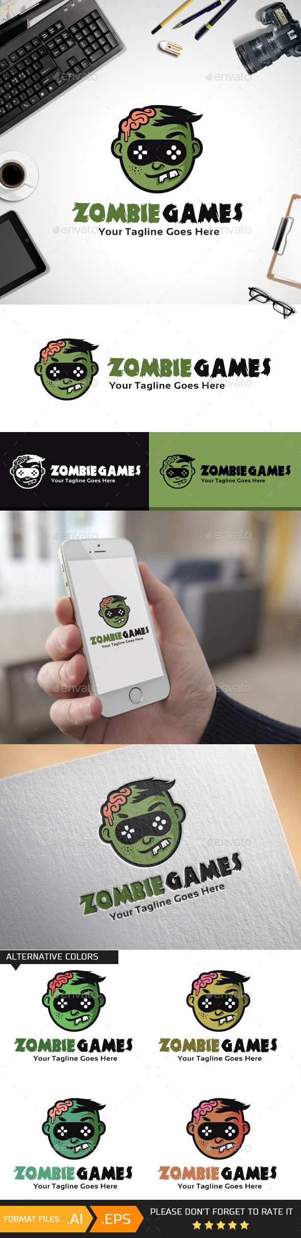 GraphicRiver Zombie Games Logo Template 10456373