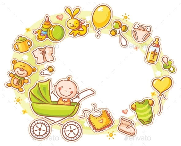 GraphicRiver Oval Frame with Cartoon Baby 10456389