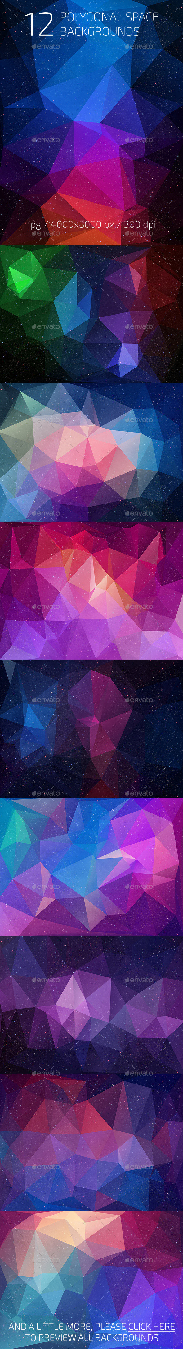 GraphicRiver 12 Polygonal Space Backgrounds 10456441