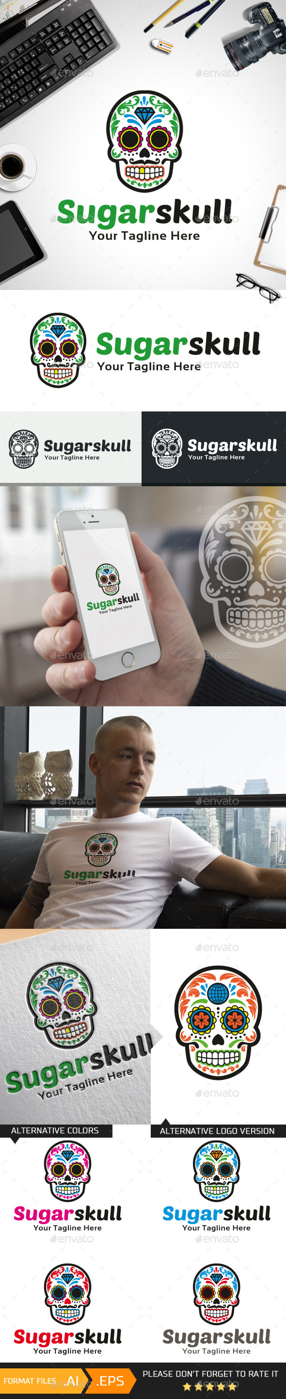 GraphicRiver Sugar skull Logo Template 10456450