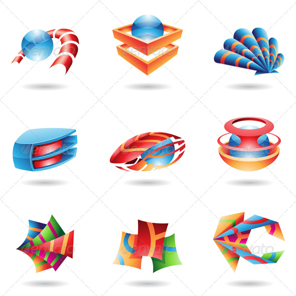GraphicRiver 3D Colourful Abstract Icons 131529