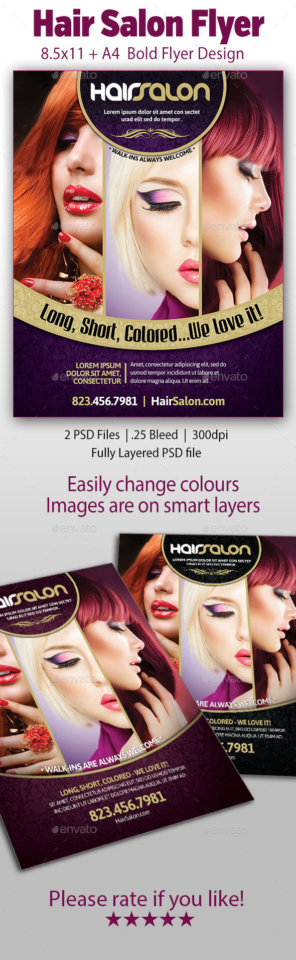 GraphicRiver Hair Salon Flyer 9870686