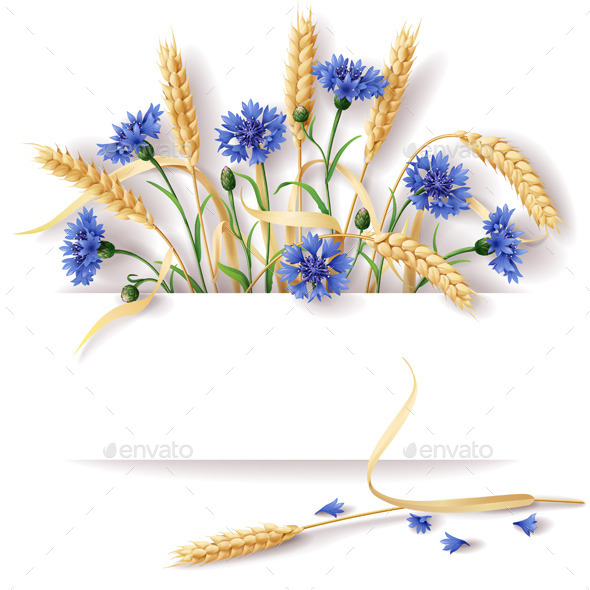 GraphicRiver Wheat Ears and Cornflowers 10456746