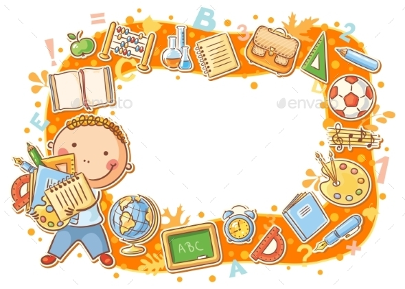GraphicRiver Cartoon Frame with School Objects 10457138