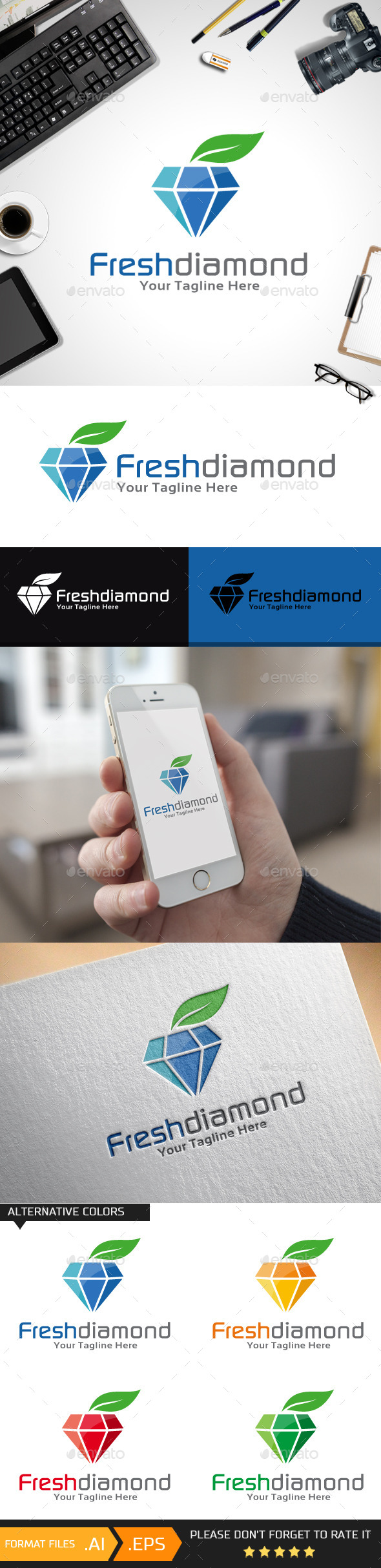 GraphicRiver Fresh Diamond Logo Template 10457173