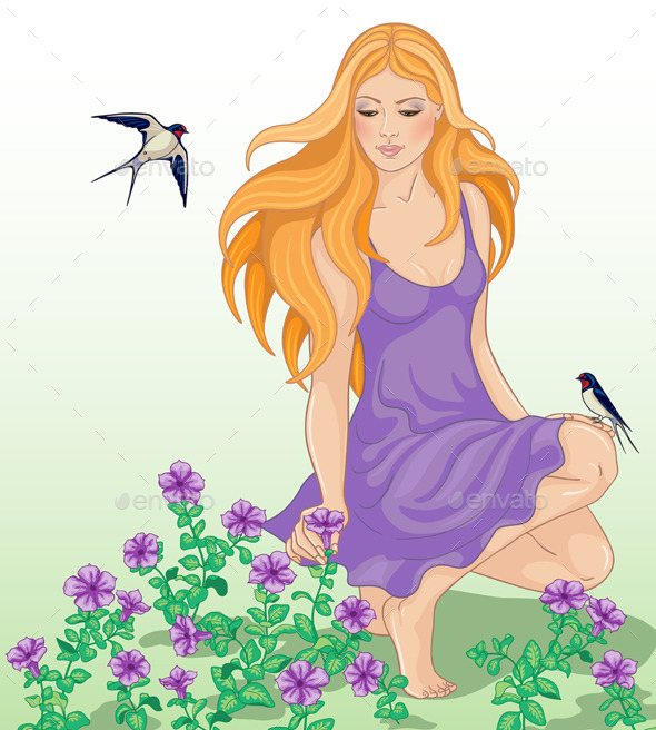 Girl Flowers and Swallows
