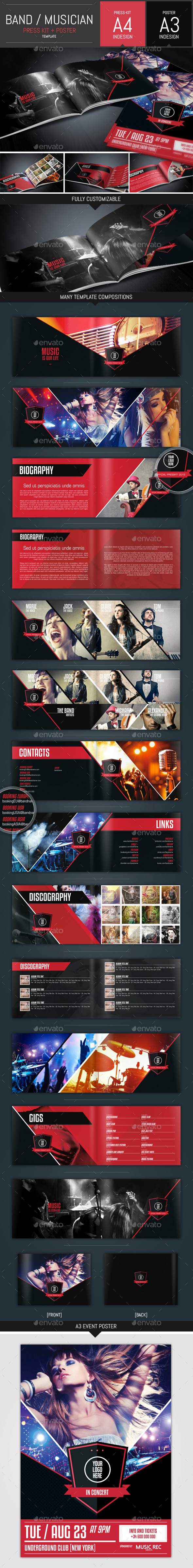 GraphicRiver Music Band Pack Presskit & Poster Template 10457289