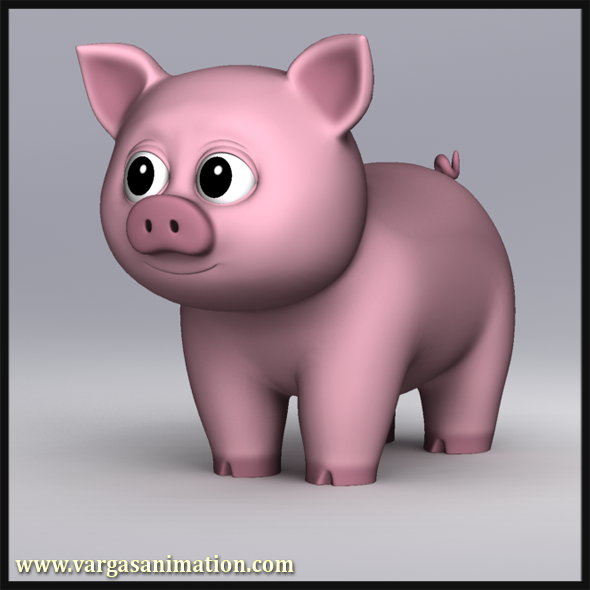 3DOcean Cartoony Pig 10457551