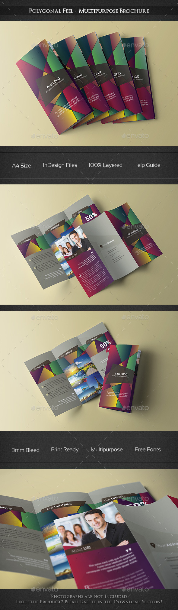 GraphicRiver Polygonal Feel Trifold Brochure 10457571