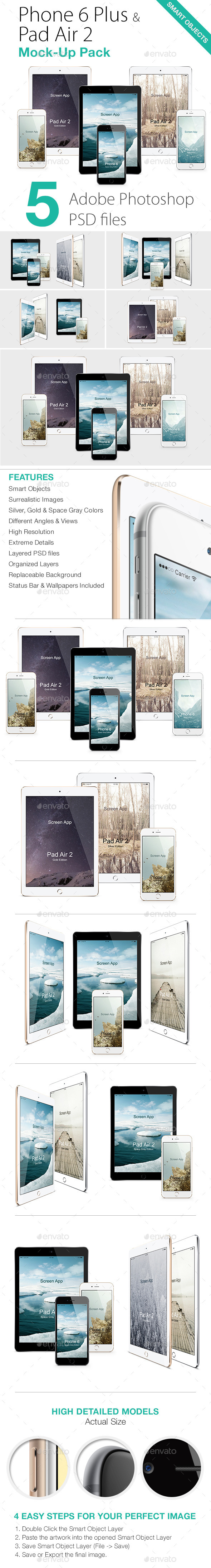 GraphicRiver Phone 6 & Pad Air 2 Mock-Ups Pack 10458200