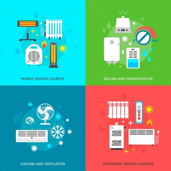 GraphicRiver Heating and Cooling Icons Set 10459311