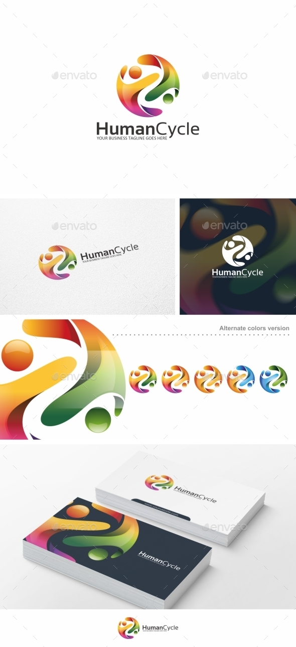GraphicRiver Human Cycle People Logo Template 10459493