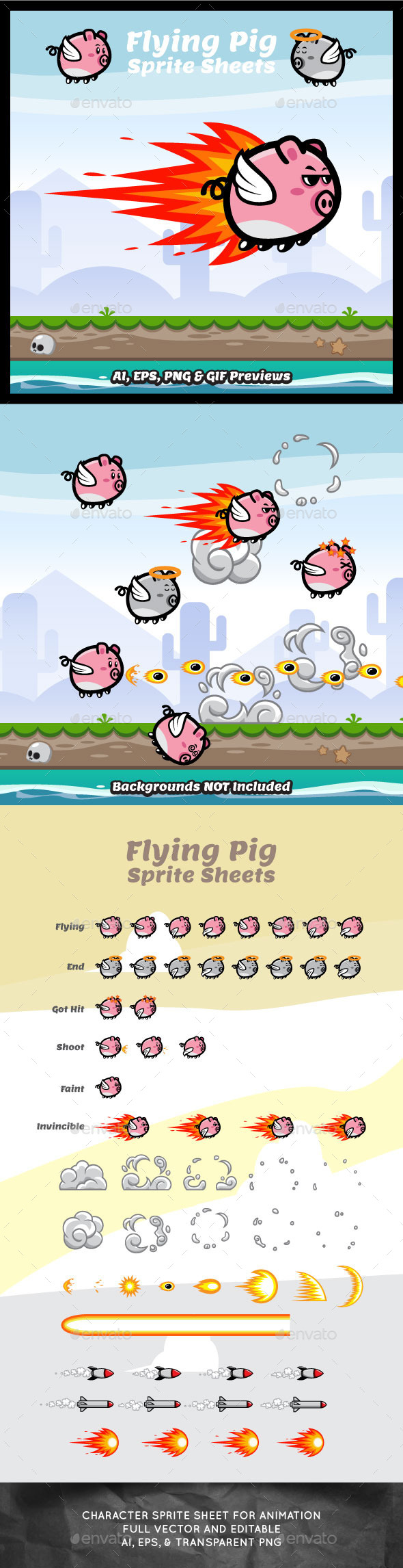 GraphicRiver Game Character Flying Pig Sprite Sheets 10459512