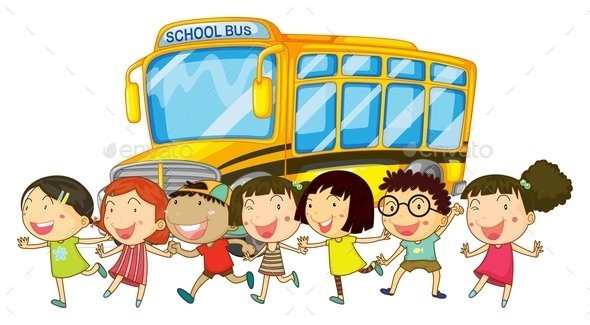 GraphicRiver Students and School Bus 10460274