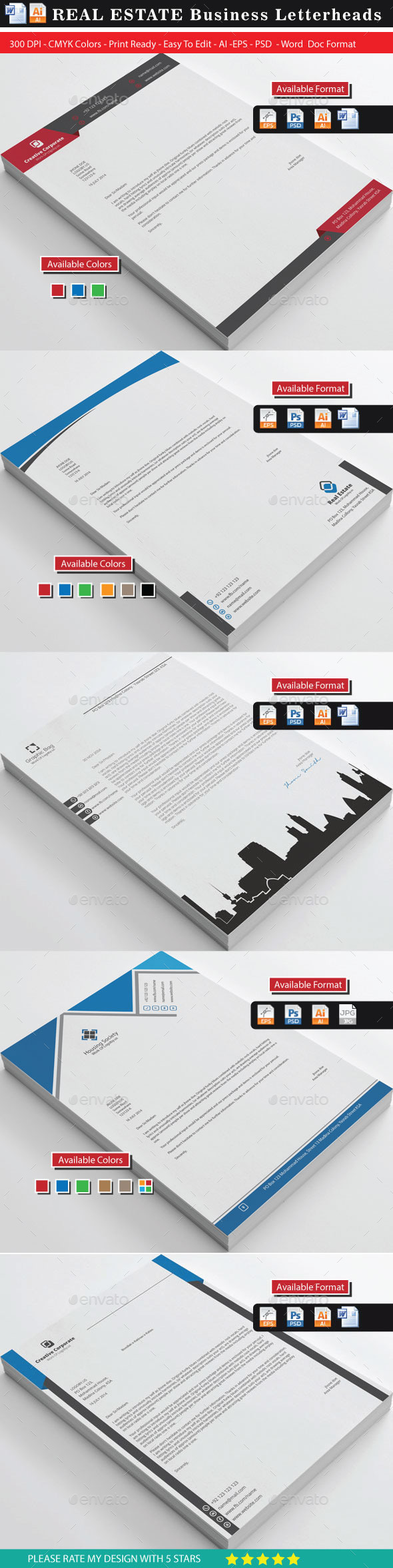 GraphicRiver Real Estate Letterheads Bundle 10461123