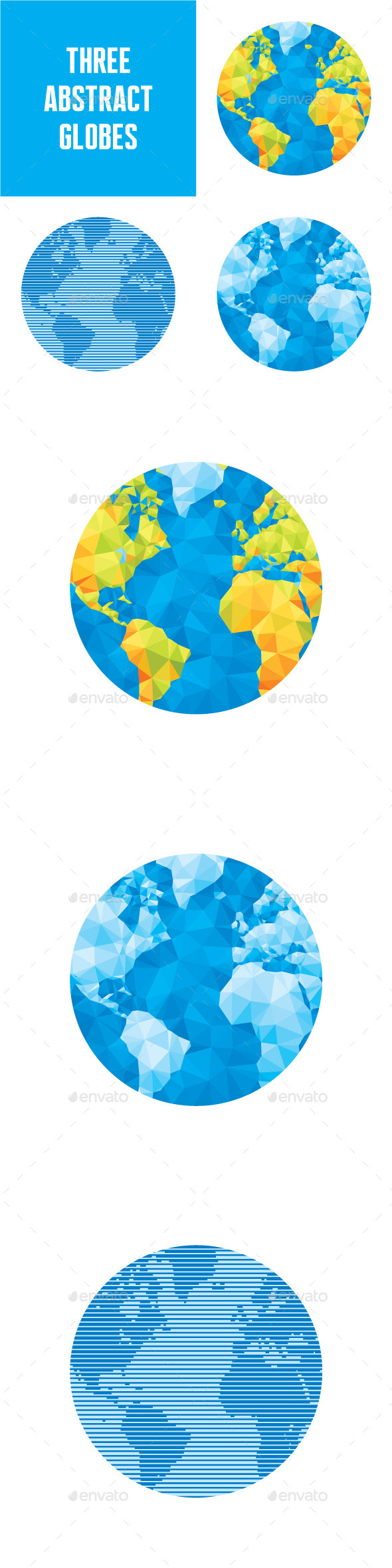 3 Abstract Vector Globes Illustrations