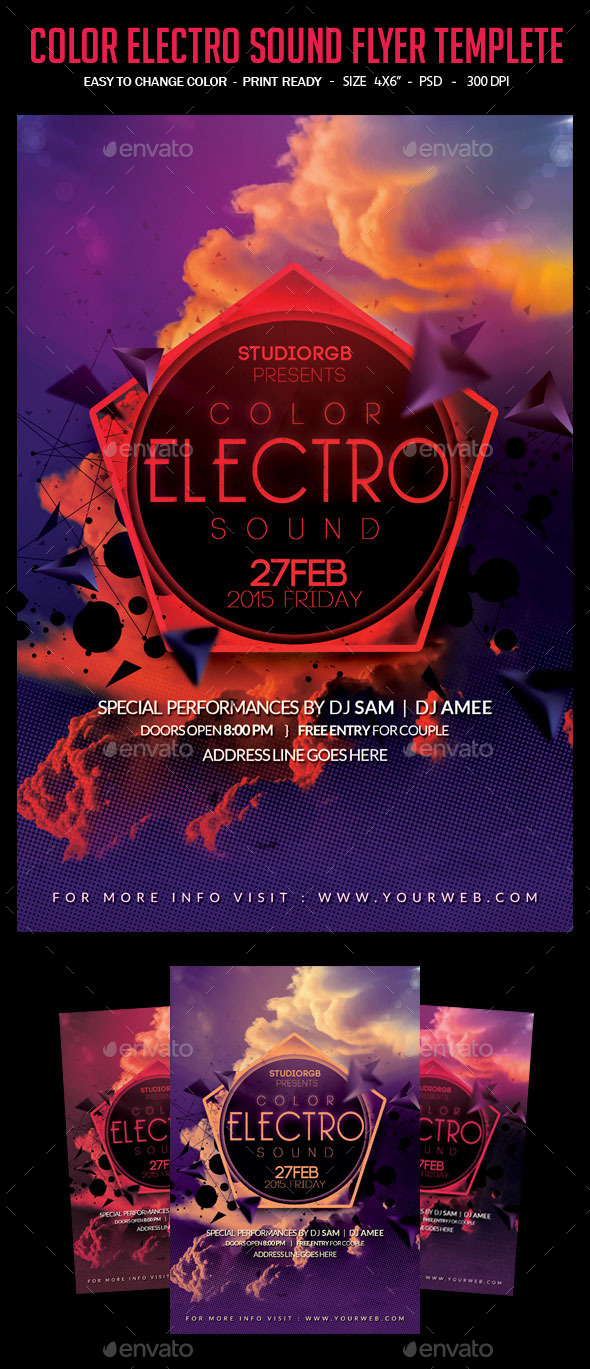 GraphicRiver Color Electro Sound Flyer Templete 10461445